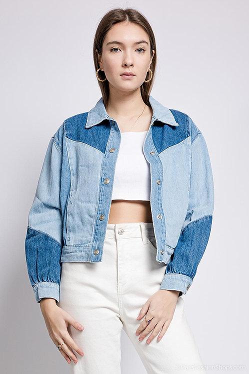 Veste en jeans patchwork