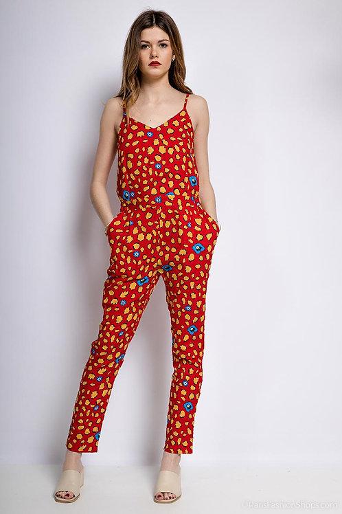 Combi pantalon rouge à imprimés