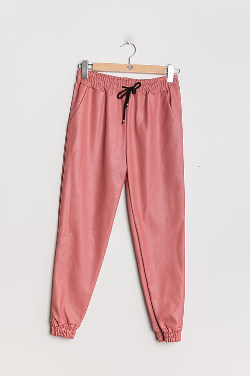 Pantalon rose en similicuir