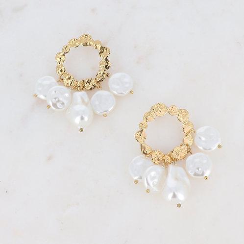 Boucles d'oreilles en acier inoxydable et perles d'eau douce