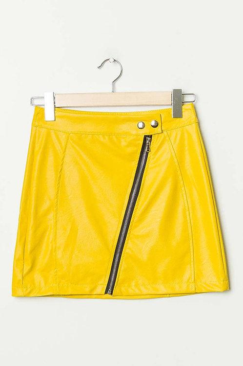 Mini-jupe en simili cuir jaune