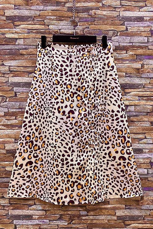 Jupe midi boutonnée léopard