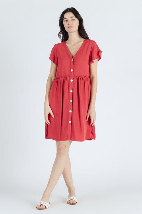 Robe courte rouge boutonnée