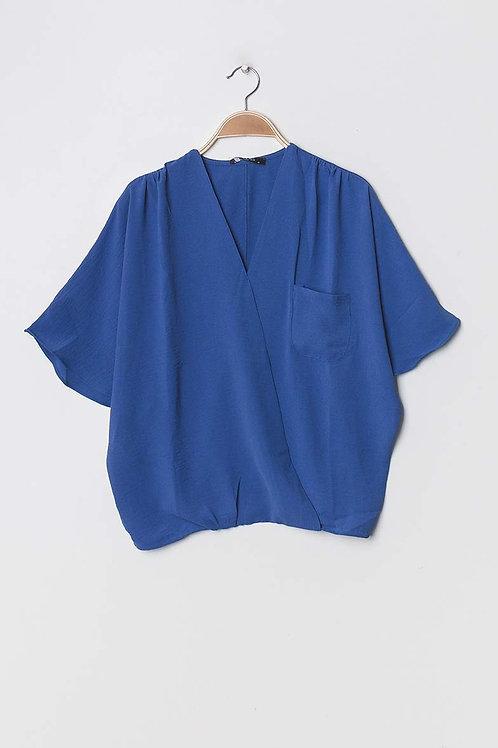 Blouse cache-coeur bleue