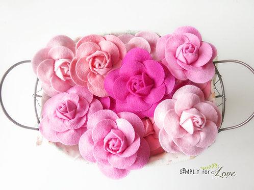 Pink Felt Flower pin brooches - Clip/brooch pin
