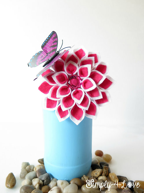 Dahlia Brooch Pin in Pink and White