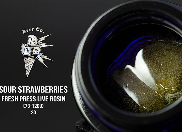 Sour Strawberries 73-120u (2g Fresh Press Live Rosin) - Brr.co
