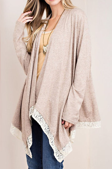 Soledad Blue Boutique | Lace Hem Cardigan