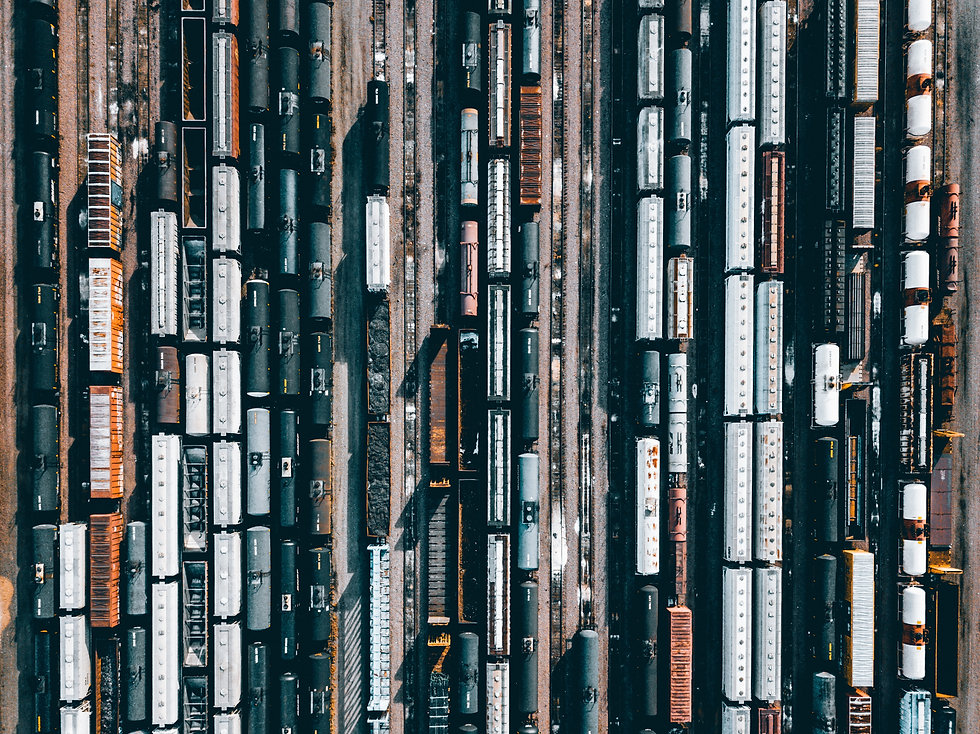 Aerial view of crowded rail yard.