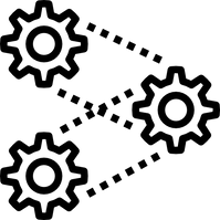 Three gear symbols connected by dotted lines.