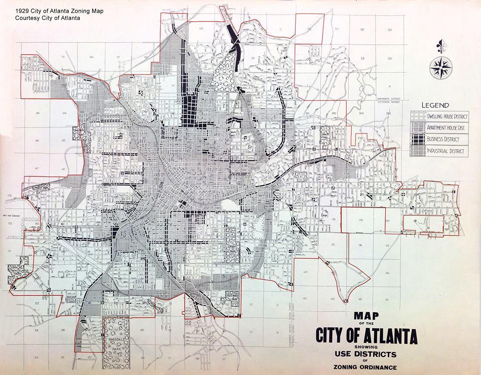1929 Atlanta Zoning Map