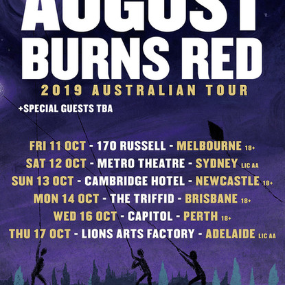 """August Burns Red - Announce 10 Years Of """"Constellations"""" 2019 Australian Tour"""