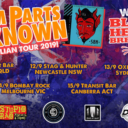From Parts Unknown (USA) Announce first ever Aussie Tour W/ Black Heart Breakers + local supports ad