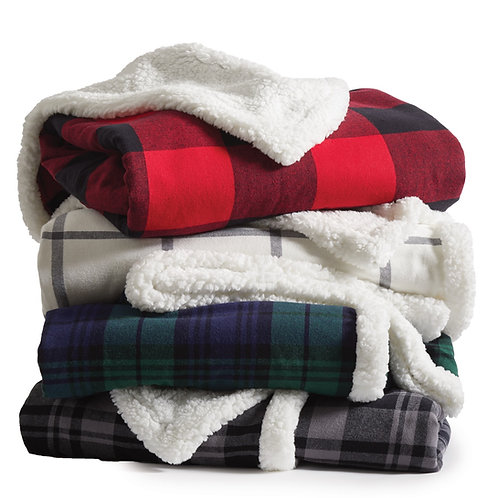 Custom Plaid Flannel Sherpa Blanket