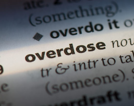 overdose word in a dictionary. overdose