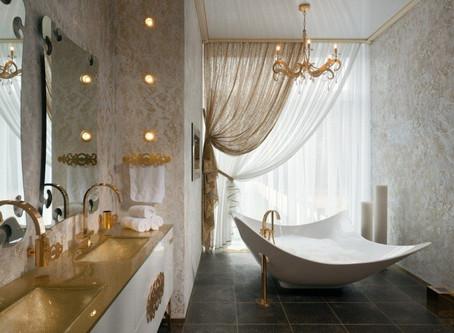 Нестандартный дизайнерский ход -окно в ванной комнате