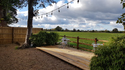 View across the deck to the fields
