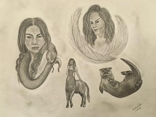 Spiritual Team 8x10  Portrait with Psychic Message