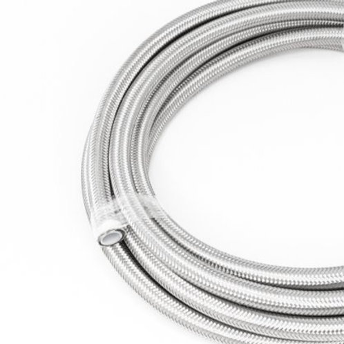 Stainless braided PTFE hose.