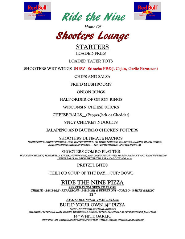 Shooters Lounge Menu May 2020-NO Prices.