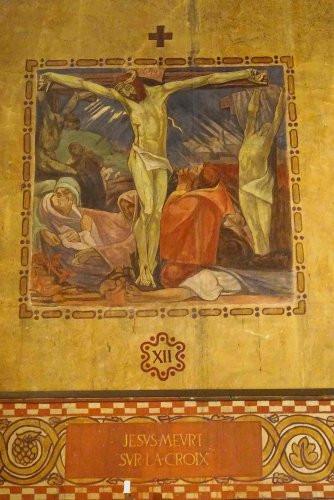 Jésus meurt sur la croix (XIIIè station) - Peinture murale - Vincennes, église Saint-Louis