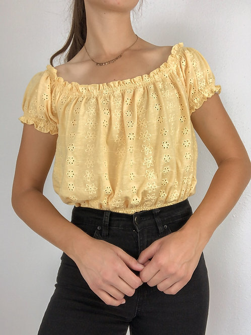 Yellow embroidered blouse-medium