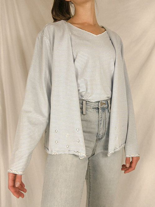 Striped sweater top set-large