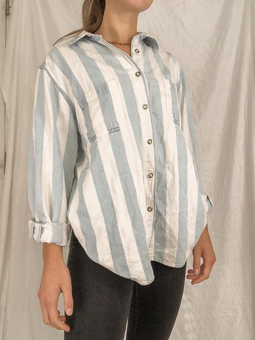 Striped denim button up-large