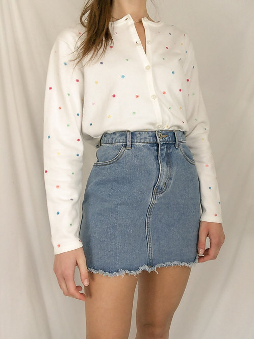 Embroidered speckled sweater-medium