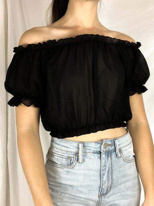 Black sheer blouse-Small