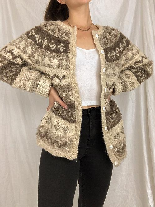 Hand knit button up sweater-Medium