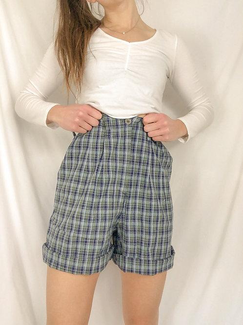 Vintage plaid high waisted shorts-medium