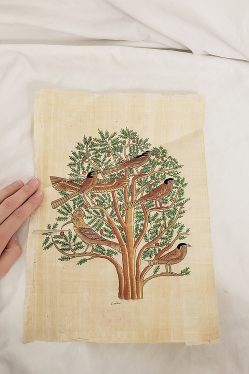 Vintage tree of life papyrus painting