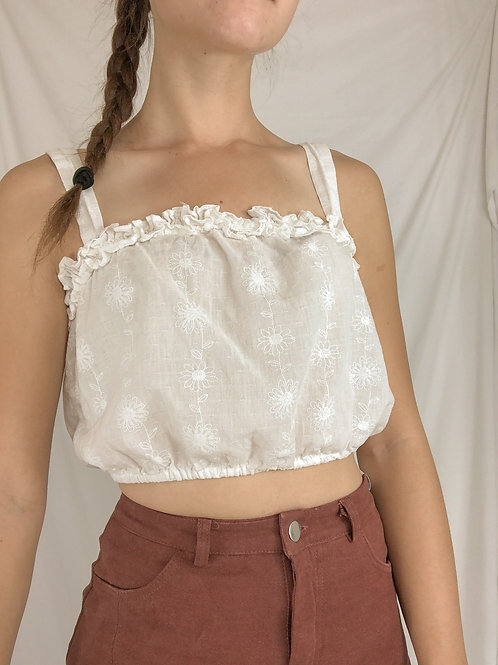 Embroidered bandeau top-Small