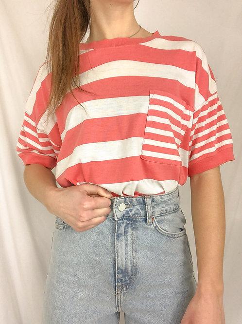 Vintage pink striped tee-medium