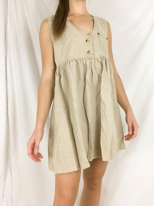 Linen blend jumper dress-Small