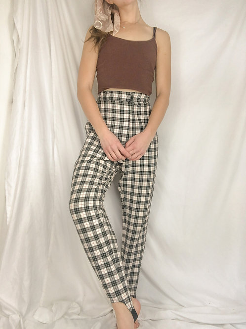 Vintage plaid stirrup pants-medium