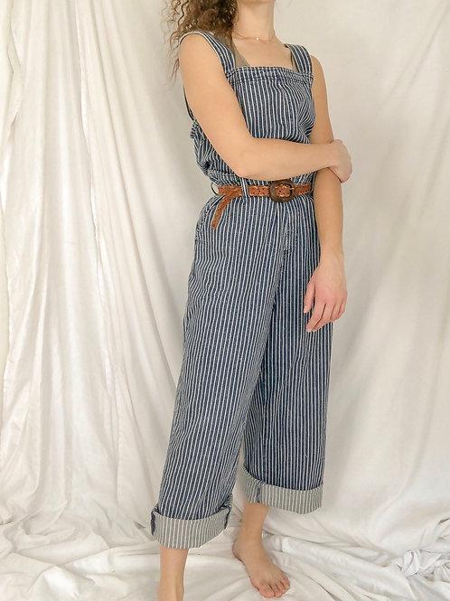 Striped wide leg overalls-XL
