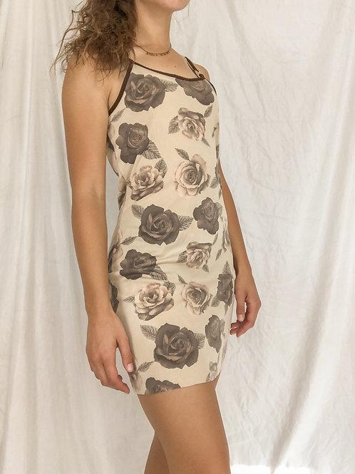 Tan rose dress-small
