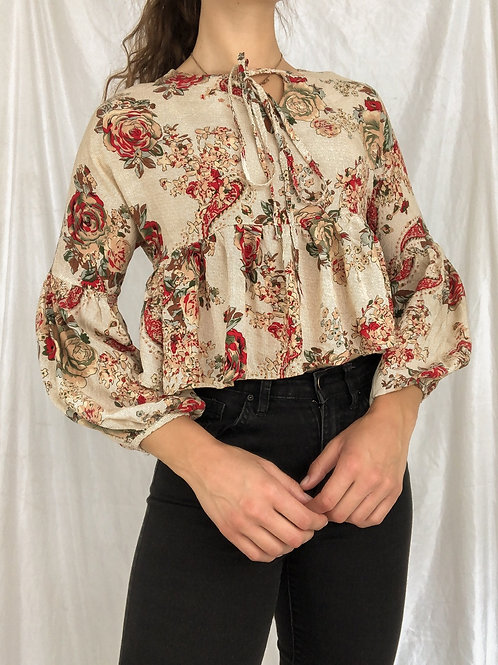 Floral peplum blouse-small