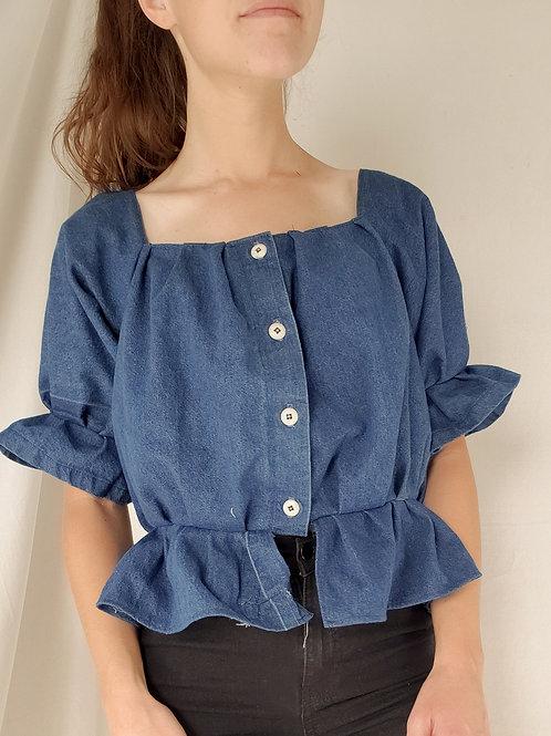 Denim ruffle button up blouse-Large
