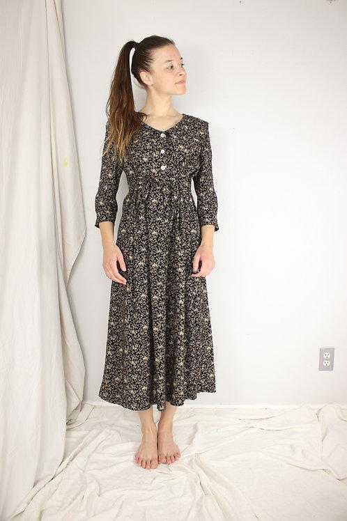 Vintage collared waist tie dress-Small