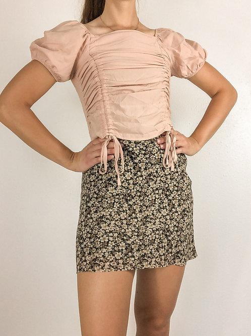 Pink drawstring blouse-Small