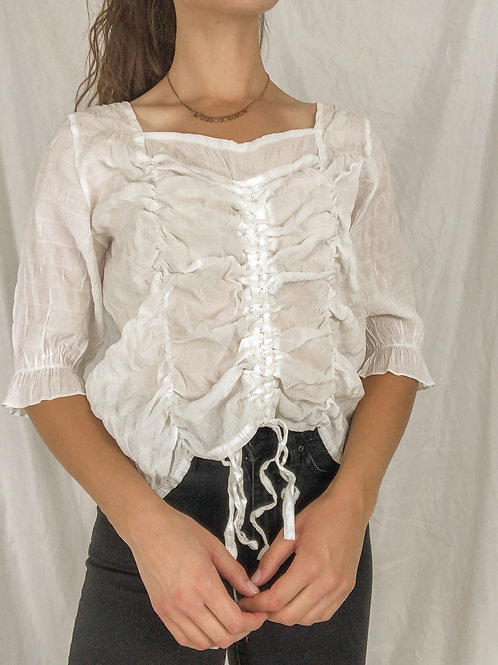 White cinch square neck blouse-medium