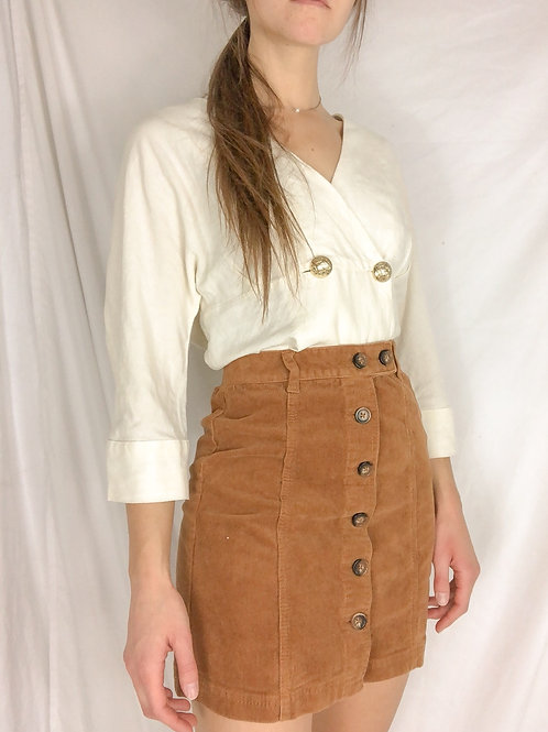 Corduroy button up skirt -small