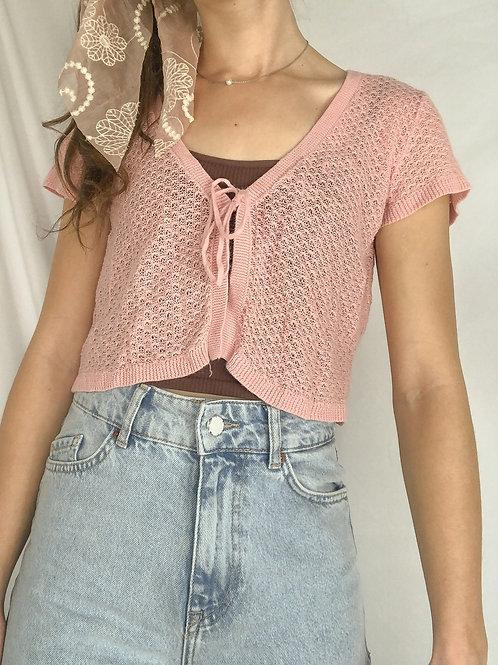 Vintage knit pink tie top-Medium