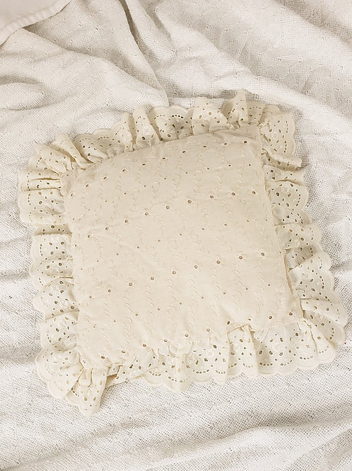 Cream embroidered accent pillow