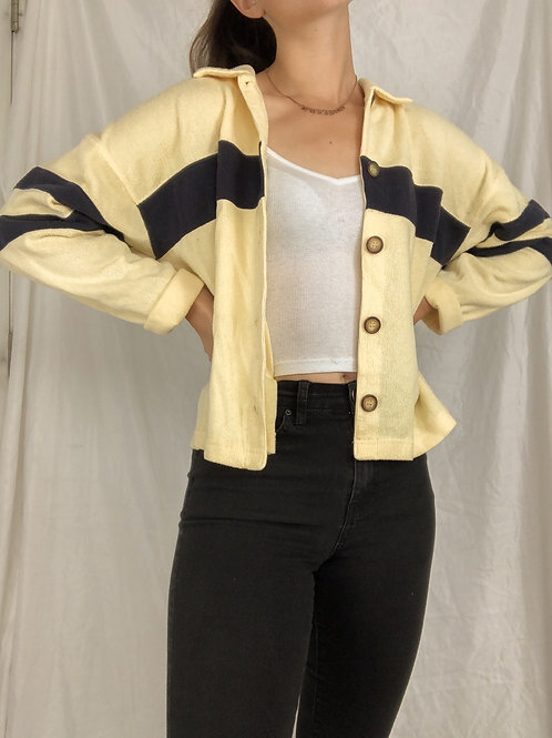 Yellow and navy button up sweater-medium