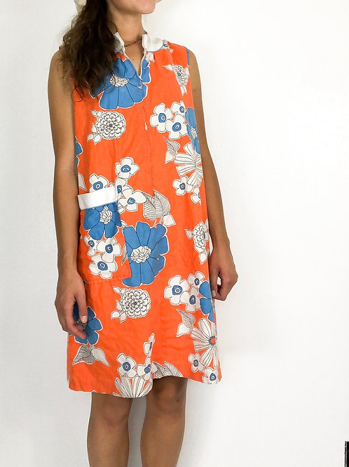 Orange floral zip dress-Medium