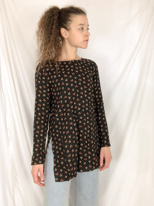 Vintage floral long sleeve with side cutouts-M